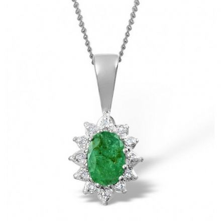 18K White Gold 0.04ct Diamond & 6mm x 4mm Emerald Pendant, DCP03-EW